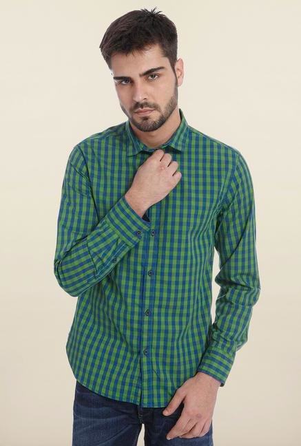 Jack & Jones Green Checks Casual Shirt