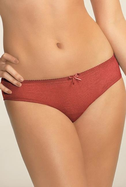 Amante Brick Red Lace Bikini Panty