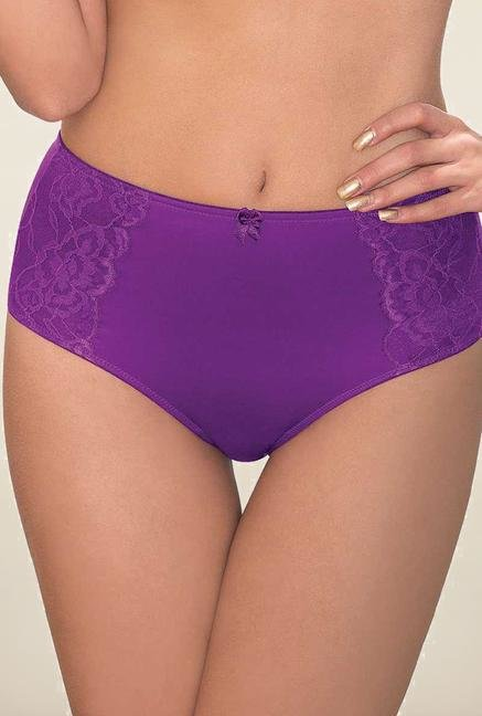 Amante Purple Solid High Waist Panty