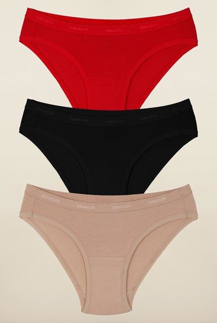 Amante Red, Beige and Black Bikini Panties (Pack Of 3)