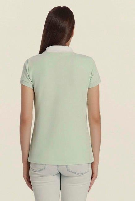 Vero Moda Green Solid T Shirt