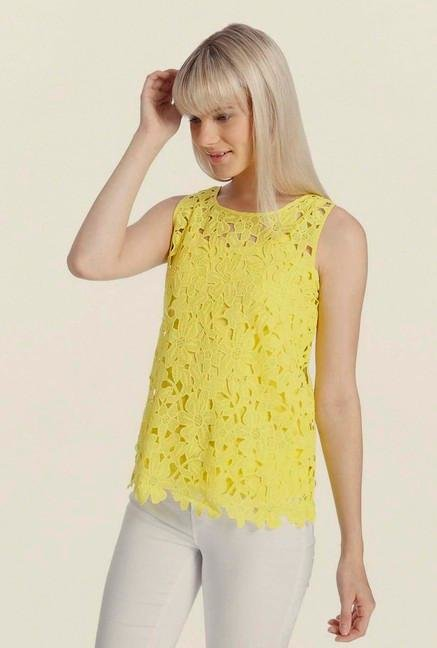 Vero Moda Yellow Lace Top