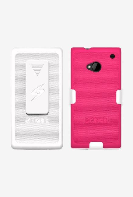 Amzer Shellster Shell Case White & Hot Pink for HTC One M7