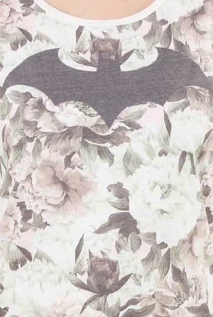 Batgirl Off White Printed Cotton Top
