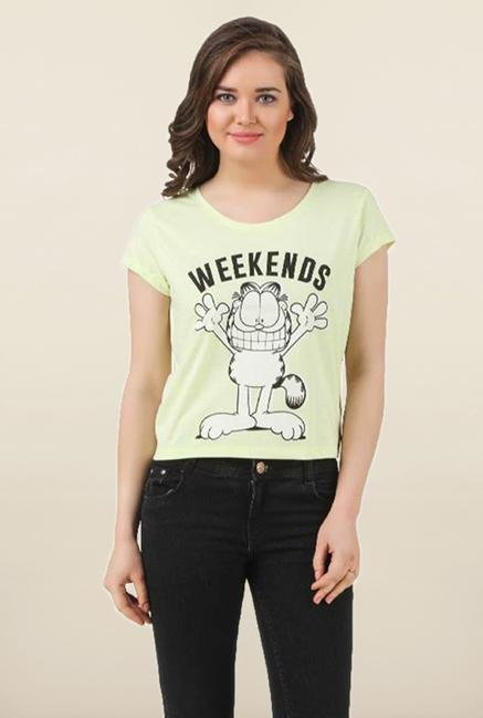 Garfield Lime Green Printed Top