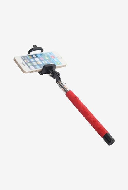 Callmate FSSAUXCRD Selfie Stick with Aux Cable Red