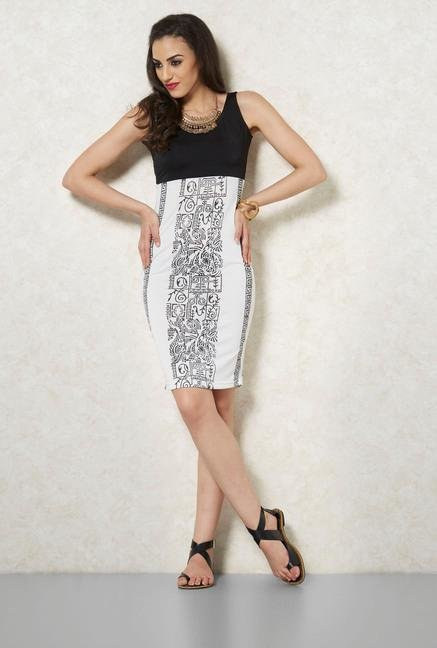 Ira Soleil White And Black Aztec Printed Dress
