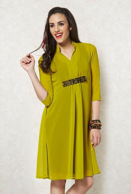 Ira Soleil Lime Sheer Georgette Dress