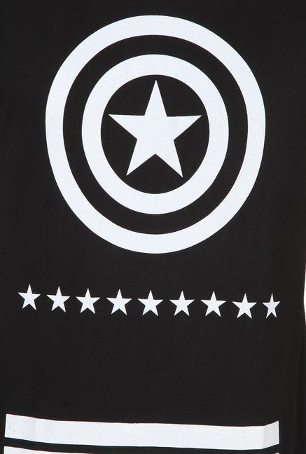 Captain America Black Printed T Shirt
