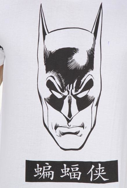 Batman White Cotton T Shirt