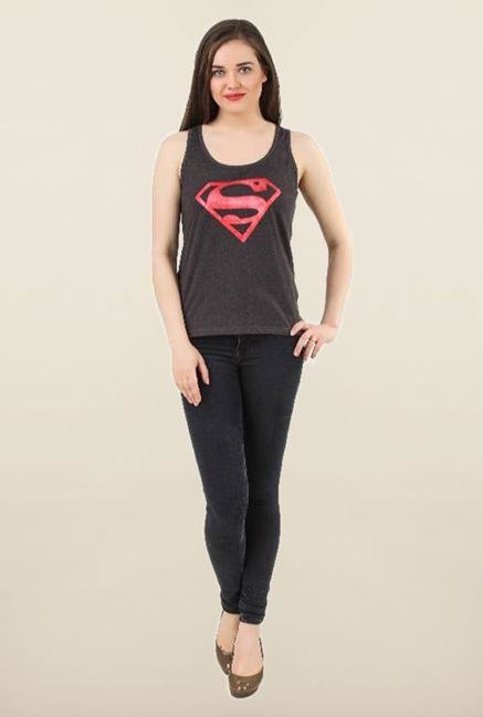 Supergirl Anthra Printed Tank Top