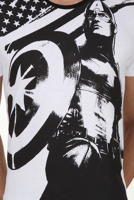 Captain America White Printed T Shirt