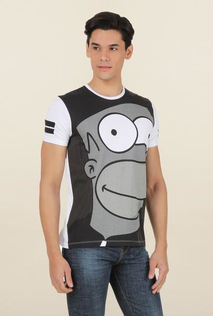 The Simpsons White Printed T Shirt