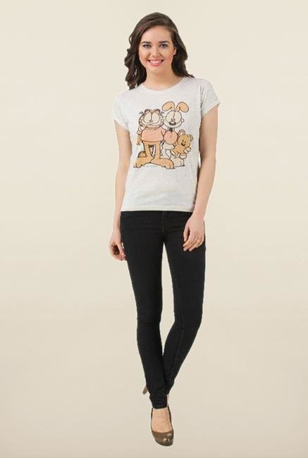 Garfield Oatmeal Crew Neck Printed Top