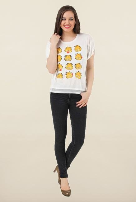Garfield White Printed Top