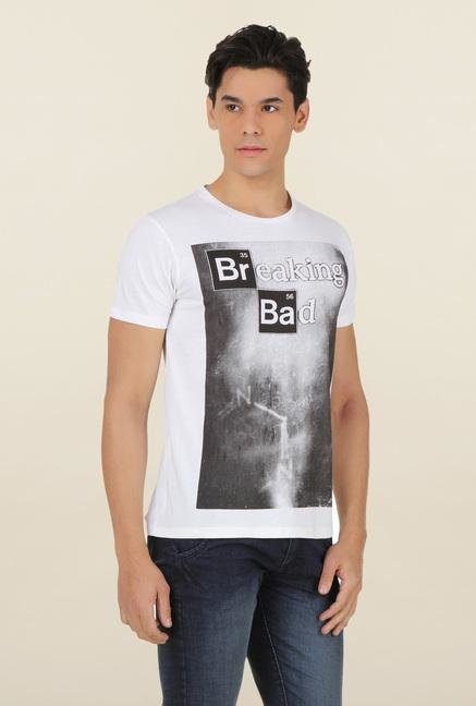 Breaking Bad White Printed T Shirt