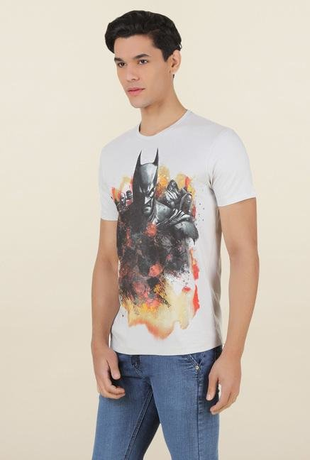 Batman Light Grey Printed Cotton T Shirt