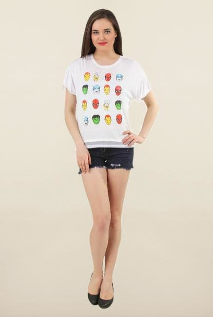 Marvel Comics Off White Printed Top