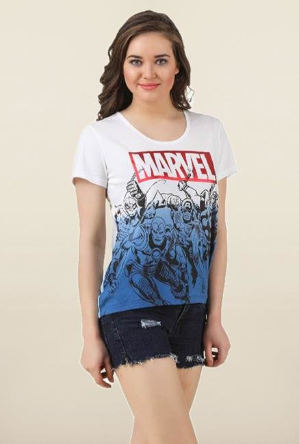 Marvel Comics White Ombre Top