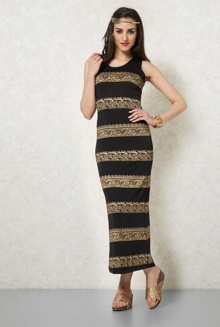 Ira Soleil Black Gold Printed Maxi Dress