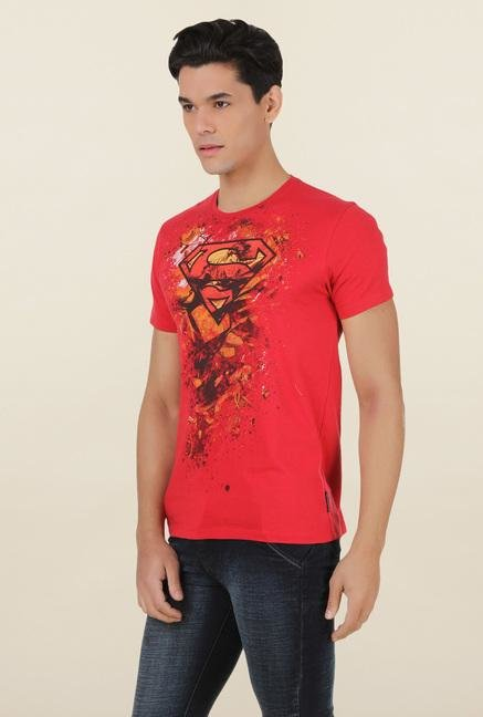 Superman Red Crew Neck T Shirt