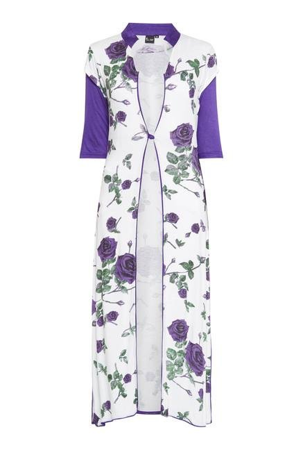 Ira Soleil Purple And White Rose Printed Long Kurta