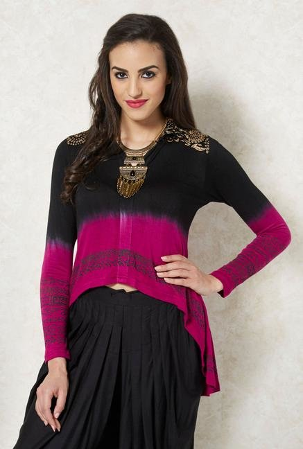 Ira Soleil Pink And Black Printed Kurti