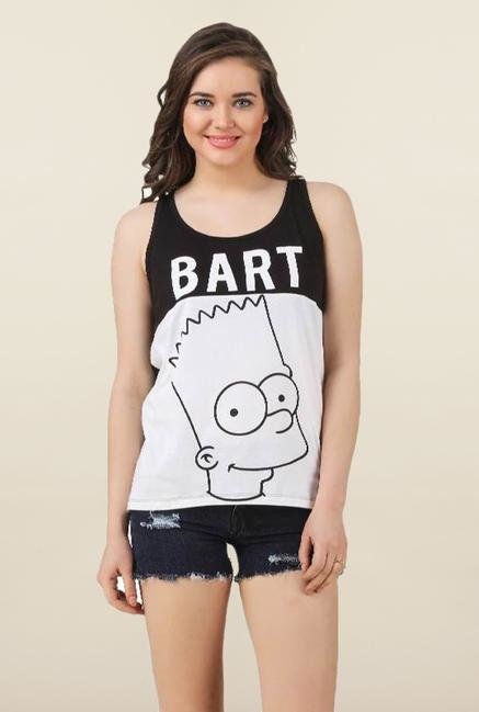 The Simpsons White & Black Tank Top