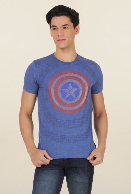 Captain America Surf Blue Printed T Shirt