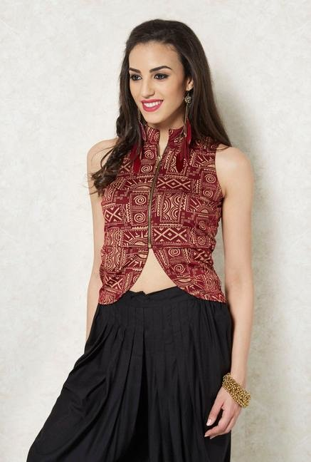 Ira Soleil Maroon And Gold Printed Vest