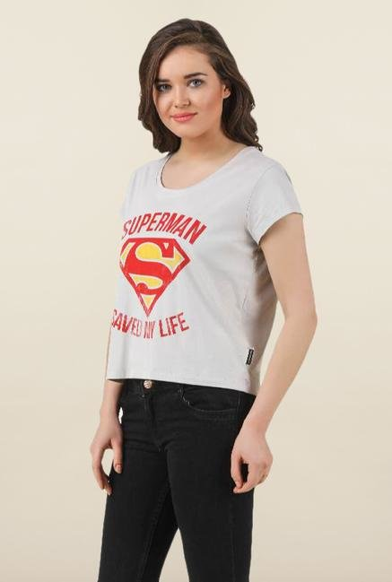 Supergirl Off White Cotton Tank Top