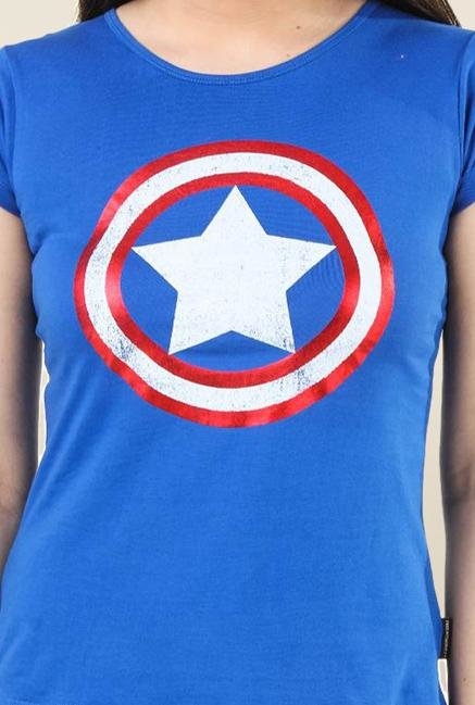 Marvel Comics Royal Blue Printed Top