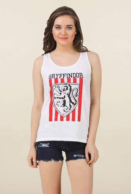 Harry Potter Off White Cotton Tank Top