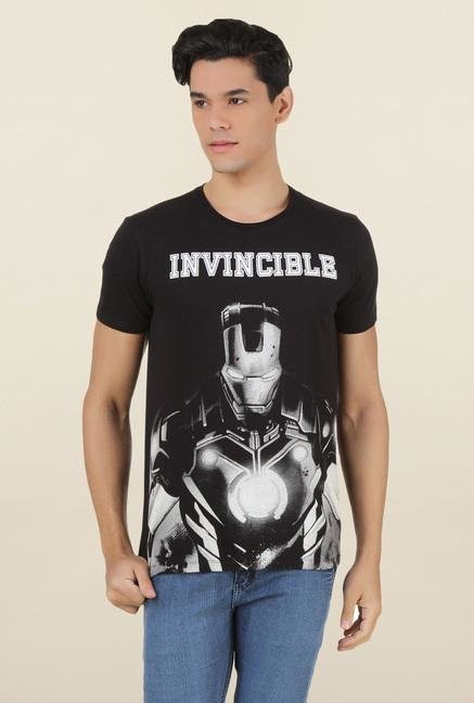 Iron Man Black Cotton T Shirt