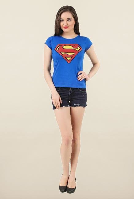 Supergirl Royal Blue Printed Top