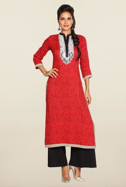 Soch Red & Black Cotton Kurta Suit Set