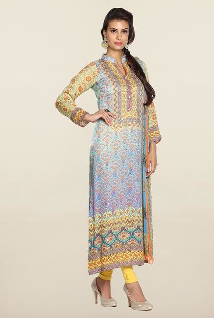 Soch Sky Blue & Yellow Cotton Kurta Suit Set