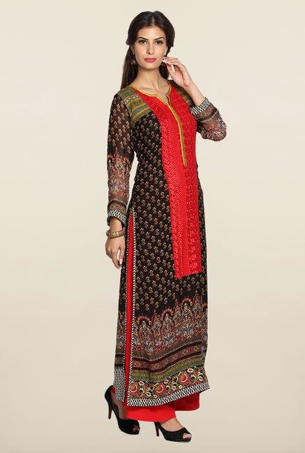 Soch Black & Red Georgette Kurta Suit Set