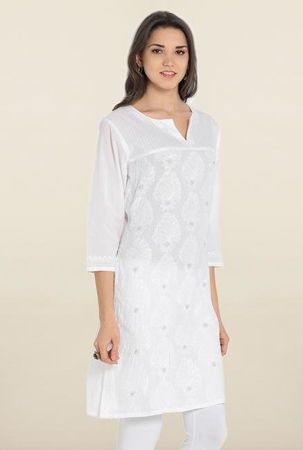 Soch White Embroidered Kurta