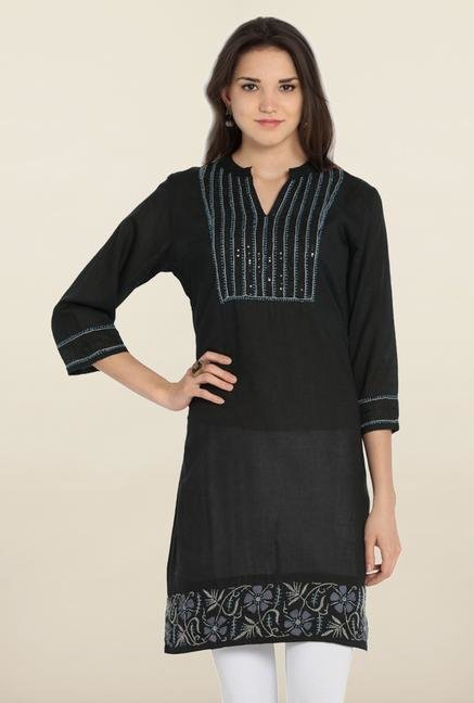 Soch Black Embroidered Cotton Kurta