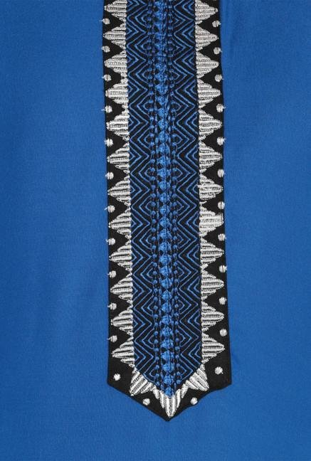 Soch Royal Blue & Black Printed Kurta