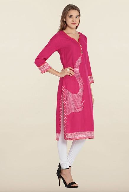 Soch Pink & White Embroidered Kurta