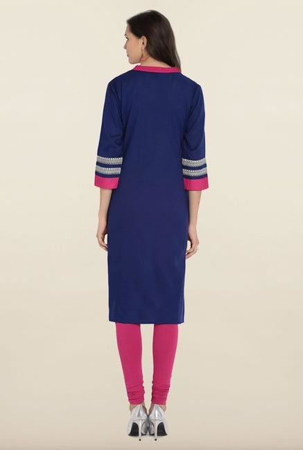 Soch Royal Blue & Pink Embroidered Cotton Kurta