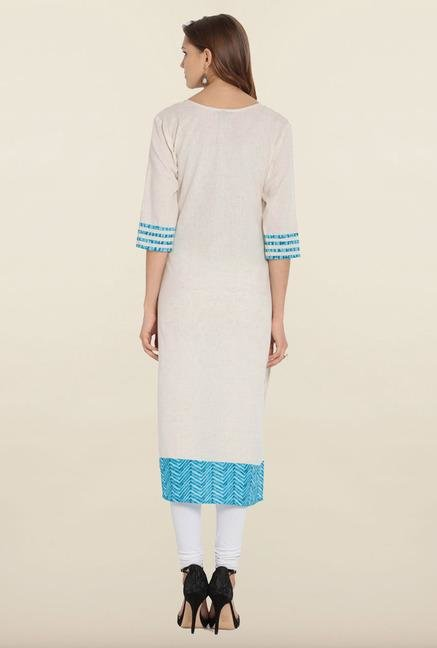 Soch White & Blue Embroidered Khadi Kurta