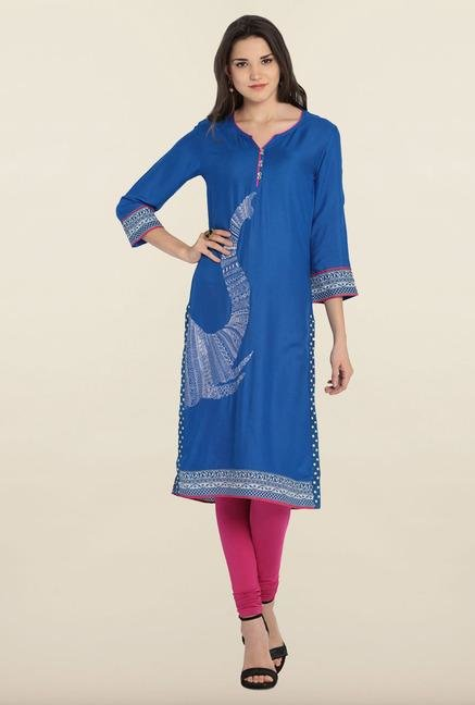 Soch Royal Blue Embroidered Kurta