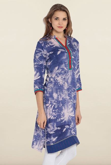 Soch Blue & White Floral Printed Cotton Kurta