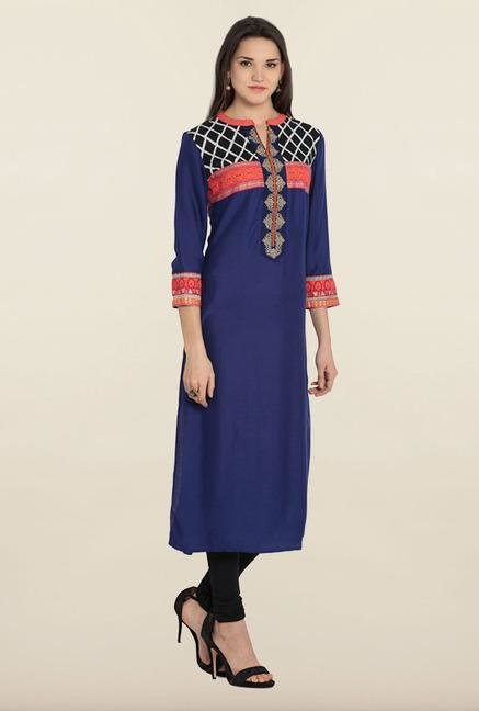 Soch Royal Blue Rayon Kurta