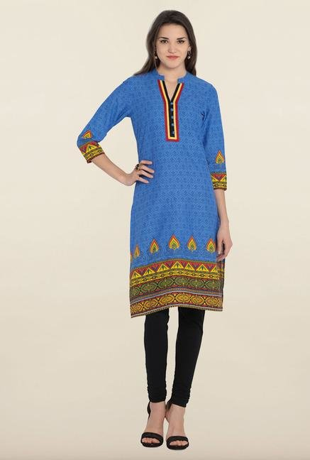 Soch Royal Blue Printed Cotton Kurta