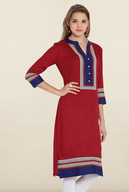Soch Maroon Embroidered Cotton Kurta