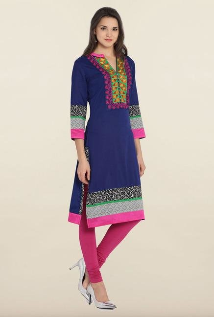 Soch Navy Blue Embroidered Cotton Kurta